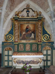 Eglise de Sainte-Catherine -  Montaut (Landes, France), église Sainte Catherine, autel et retable de la chapelle de la Vierge, sise dans le collatéral droit.