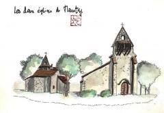 Ancienne église Notre-Dame - Français:   Aquarelle des deux églises de Moustey dans le département français des Landes.