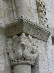 Eglise Sainte-Marie - Église Sainte-Marie d'Aubiac (47). Chapiteau droit du portail occidental.