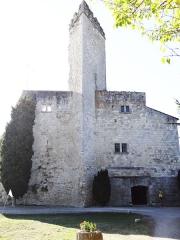 Ruines du château féodal - Français:   Château de Madaillan - Front est, mur de l\'ancien donjon avec sa pointe pleine. Le donjon pentagonal a probablement été miné après 1576