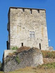 Ruines du château féodal - Français:   Château de Madaillan - Façade ouest avec l\'enceinte dont une partie est effondrée depuis le siège de 1575