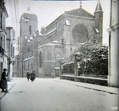 Eglise Notre-Dame et son cloître - English: Cathedral of Marmande in the snow in December 1920.