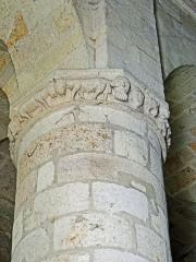 Eglise Saint-Géraud - Français:   Monsempron-Libos - Église Saint-Géraud -  Pilier de la nef avec une bague sculptée de personnages et d\'animaux
