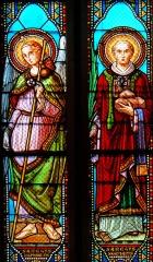 Eglise Saint-Jean - Français:   Prayssas - Église Saint-Jean - Vitraux: saint Raphaël et saint Etienne (1892 - atelier H. Feur)