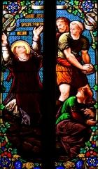 Eglise Saint-Etienne - Français:   Villeneuve-sur-Lot - Église Saint-Étienne - Vitrail de la lapidation de saint Étienne