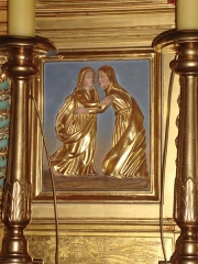 Eglise Saint-Martin - English: Ahetze (Pyr-Atl., Fr) détail du retable, Anna greeting Maria (Visitation.