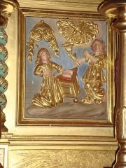 Eglise Saint-Martin - English: Ahetze (Pyr-Atl., Fr) Church Saint-Martin, altar piece detail: Annunciation.