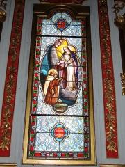 Eglise Saint-Martin - English: Ahetze (Pyr-Atl., Fr) Vitrail Notre Dame du Scapulaire, Mater purissima