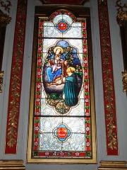Eglise Saint-Martin - English: Ahetze (Pyr-Atl., Fr) Vitrail notre Dame du Rosaire, Rosa mystica; signature: