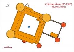 Château-Vieux -  Plan du bâti, en 2013.