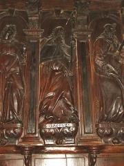 Eglise de l'Assomption, ancienne cathédrale - Lescar (Pyr-Atl, Fr) statue-relief St.Jacques le Majeur dans la cathédrale