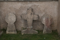 Eglise Saint-Jean-Baptiste -  Gravestones in the former cemetery}.