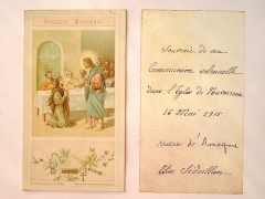 Eglise Saint-Germain d'Auxerre - English: Holy card for solennal communion, on May 16, 1915 in the church of Navarrenx (Pyrénées-Atlantiques, France).