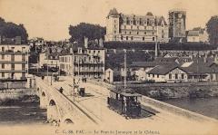 Domaine national du château de Pau ou château Henri IV - Carte postale ancienne éditée par CC, n°48  : PAU - Le Pont de Jurançon et le Château