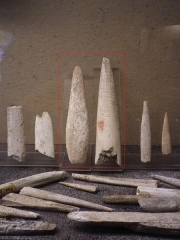 Site archéologique des grottes d'Isturits, d'Oxocelhaya et d'Erberua - Deutsch: Geschossspitzen des Jungpaläolithikums. Der roten Rahmen zeigt zwei Isturitz-Spitzen.