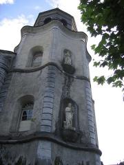 Eglise de Sarrance -  Notre Dame de Sarrance avec son clocher caractéristique. Ce fut le cadre d'une légende ayant pour protagonistes: Le paysan, le boeuf, la statue de la Vierge.