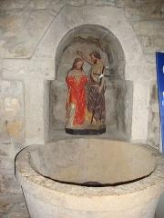 Eglise Saint-Laurent - Arbonne (Pyr-Atl., Fr) Font baptismale avec le Christ et St.Jean Baptiste
