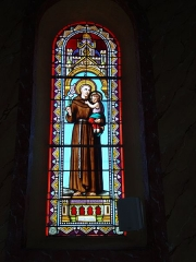 Eglise Saint-Laurent - English: Arbonne (Pyr-Atl., Fr) Stained glass window of Saint Anthony of Padua