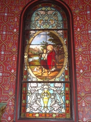 Eglise Saint-Laurent - English: Arbonne (Pyr-Atl., Fr) stained glass window with guardian angel.