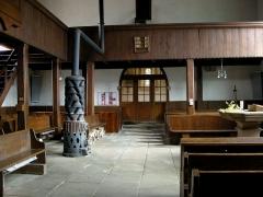 Eglise protestante de Fouday -  L'intérieur de l'église de Fouday (Bas-Rhin), avec un poêle De Dietrich