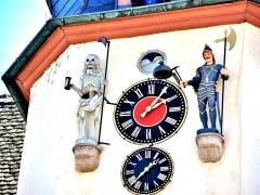 Hôtel de ville - Français:   Automates du Jacquemart au-dessus de la mairie de Benfeld. Bas-Rhin