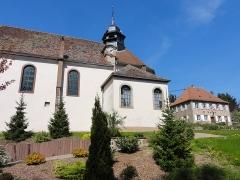 Eglise catholique Saint-Louis -  Alsace, Bas-Rhin, Birkenwald, Eglise Saint-Louis (1704) et Ancien presbytère, actuellement mairie (1717)