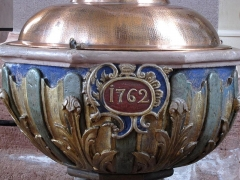 Eglise catholique Saint-Georges -  Alsace, Bas-Rhin, Église Saint-Georges de Châtenois (PA00084665, IA00124434).  Fonts baptismaux (1762):        This object is inscrit Monument Historique in the base Palissy, database of the French furniture patrimony of the French ministry of culture,under the referencesPM67001596 and IM67006659. беларуская (тарашкевіца)| brezhoneg| català| Deutsch| English| español| suomi| français| magyar| italiano| македонски| Plattdüütsch| português| українська| +/−