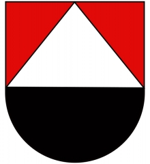 Vestiges du château de Landsberg - Deutsch: Wappen der Herren von Landsberg (wohl Elsässer Burgherren): Rot und Schwarz geteilt, oben eine silberne Spitze.