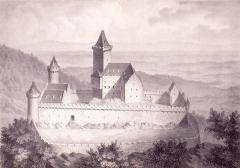 Vestiges du château de Landsberg - Deutsch: Lithographie der Burg Landsberg im 16. und 17. Jahrhundert, Ansicht von Südwesten