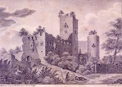 Vestiges du château de Landsberg - Deutsch: Zeichnung der Burgruine Landsberg, Ansicht von Osten
