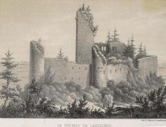 Vestiges du château de Landsberg - Français:   Lithographie du château de Landsberg en Alsace, vue de l\'ouest