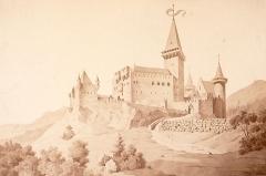 Vestiges du château de Landsberg - Deutsch: Rekonstruktion der Burg Landsberg im Elsass, Blick von Osten