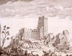 Vestiges du château de Landsberg - Deutsch: Stich mit einer Abbildung der Burg Landsberg 18. Jahrhundert