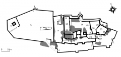 Ruines du château Guirbaden - English: Plan of the castle of Guirbaden, Bas-Rhin, France