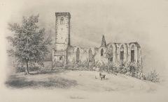Ancien couvent des chanoines réguliers de saint Augustin - Français:   Dessin de l\'abbaye de Truttenhausen à Obernai (Bas-Rhin, Alsace, France), par Louis Laurent-Atthalin en 1836.