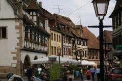 Halle aux blés (anciennes boucheries) - English: View from Place du Marché (Main Square) in  Obernai, France