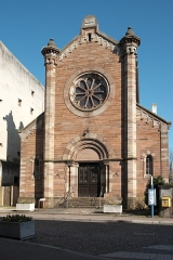 Ancienne synagogue - Deutsch: Synagoge (Obernai) in Obernai im Département Bas-Rhin in der Region Grand Est (Frankreich), Westfassade