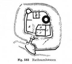Ruines du château de Rathsamhausen - Deutsch: Burg Rathsamhausen, älterer Grundriss. A: Wohnturm, B: Hof der Kernburg, C: Wohnbau, E: Küche, p: Unbekanntes Gebäude des 15.Jahrhunderts