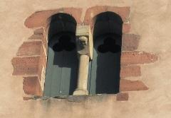 Eglise protestante de Scharrachbergheim -  Détail du 3ème niveau de l'église protestante de Scharrachbergheim-Irmstett dans le Bas Rhin.