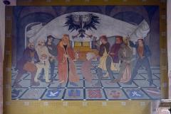 Tour dite Tour Neuve ou Tour de l'Horloge - English: Early 20th-century fresco depicting guilds in the 13th-century New Tower (Clock Tower) of Sélestat