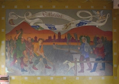 Tour dite Tour Neuve ou Tour de l'Horloge - English: Early 20th-century fresco depicting peasants in the 13th-century New Tower (Clock Tower) of Sélestat