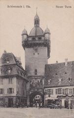 Tour dite Tour Neuve ou Tour de l'Horloge - Français:   Carte postale ancienne de la tour neuve à Sélestat, Bas Rhin, France