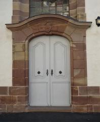 Eglise protestante Sainte-Aurélie - Français:   Porte latérale (première, de gauche à droite) de l\'église Sainte-Aurélie de Strasbourg.