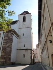 Eglise protestante Sainte-Aurélie - Français:   Clocher de l\'église Sainte-Aurélie de Strasbourg. Horloge de Jean-Baptiste Schwilgué.