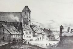 Eglise protestante Sainte-Aurélie -  Alsace, Bas-Rhin, Vues historiques de Strasbourg, Eglise Sainte-AUrélie vers 1850, Lithographie de Sandmann