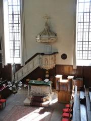 Eglise protestante Sainte-Aurélie - Français:   Chaire et autel (1669) de l\'église Sainte-Aurélie de Strasbourg