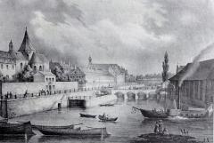 Eglise Saint-Etienne -  Alsace, Bas-Rhin, Vues historiques de Strasbourg, Eglise Saint-Etienne et Faux-Remparts, Lithographie de Sandmann