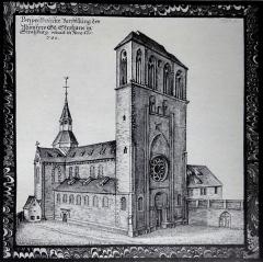Eglise Saint-Etienne -  Alsace, Bas-Rhin, Vues historiques de Strasbourg, Eglise Saint-Etienne au XVIIe, Aquarelle de Arhardt