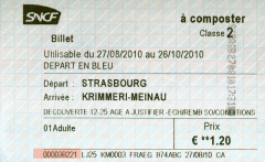 Gare ferroviaire centrale - Français:   Un billet de TER