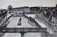 Ancien hôpital militaire Gaujot -  Alsace, Bas-Rhin, Vues historiques de Strasbourg, Krutenau, Ancien Rheingiessen, Cité Gaujot (vers 1869)